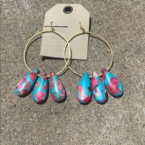 Anthropologie turquoise & pink hoop Earrings